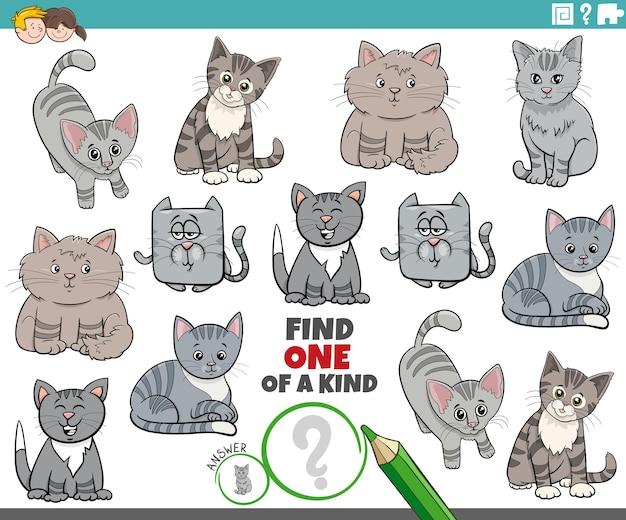 Einzigartiges spiel für kinder mit niedlichen comic-katzen