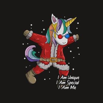 Einzigartiges süßes einhorn, das ein weihnachtsmannkostüm trägt und cool posiert