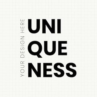 Einzigartigkeit designvorlage fette typografie
