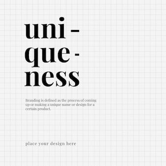 Einzigartigkeitsvorlage schwarzes typografiedesign