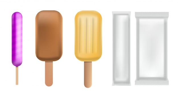 Eis am stiel-icon-set. realistischer satz eis am stielvektorikonen für das webdesign lokalisiert auf weißem hintergrund