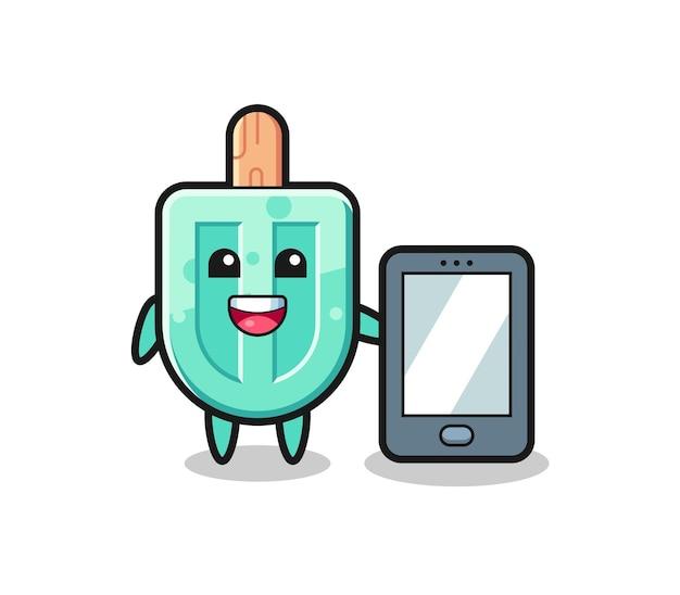 Eis am stiel-illustrationskarikatur, der ein smartphone, niedliches design hält