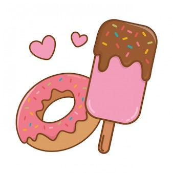 Eis am stiel und donut