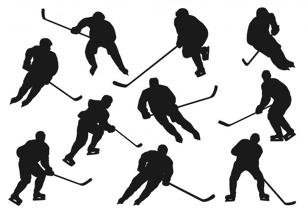Eis hokey spieler silhouetten, sportmannschaft ikonen