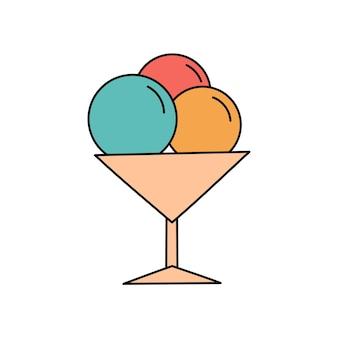 Eis im doodle-stil. sommer eisiger süßer nachtisch. einfache illustration lokalisiert auf weißem hintergrund. sommersymbol