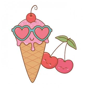 Eis kirschen und sonnenbrillen