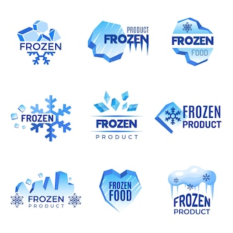 Eis-logo. gefrorene produkt abstrakte abzeichen kalt und eisvektorsymbole. eiskaltes kristallabzeichen für produktgefrorene illustration