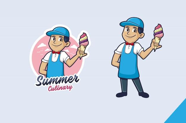 Eis-maskottchen-logo