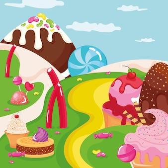 Eis süßwaren in der landschaft
