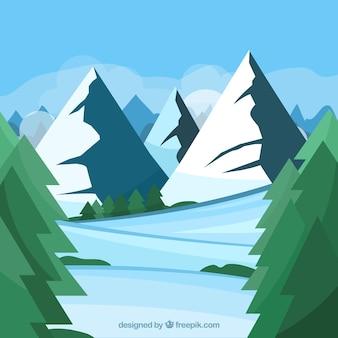 Eis und berge hintergrund in flaches design