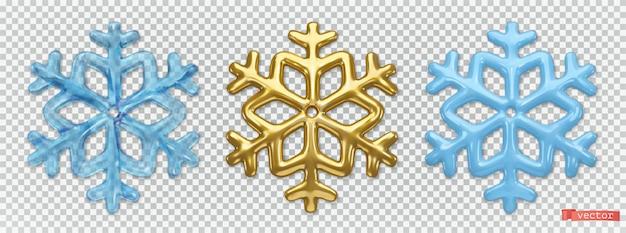 Eis- und goldschneeflocken. 3d-vektor realistische icon-set. weihnachtsdekorationen