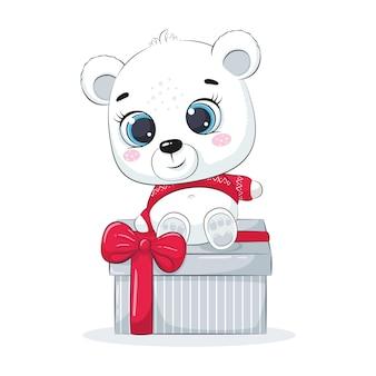 Eisbär auf einer geschenkbox. frohe weihnachten design.