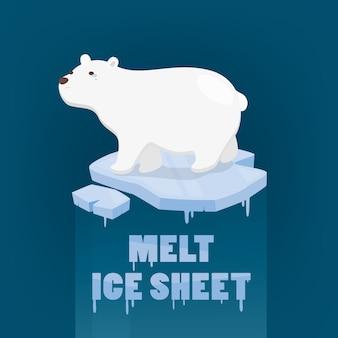 Eisbär, der auf schmelzeisschild auf dunkelblauem steht