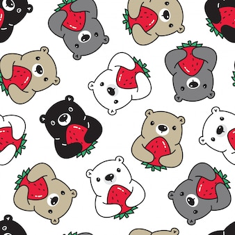 Eisbär, der erdbeerfrucht nahtlose musterkarikaturart hält