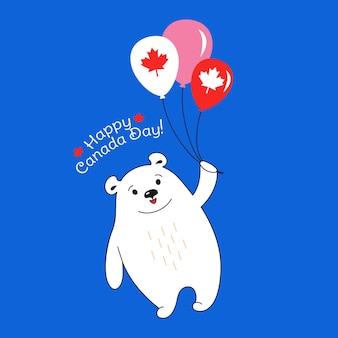 Eisbär fliegender luftballon, glückliche kanada-tageskarikaturkarte nationale feier card