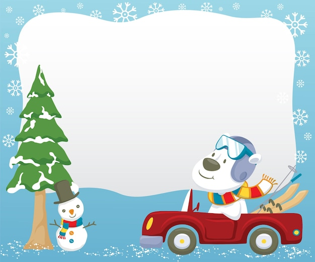 Eisbär-karikaturfahrauto beim tragen der skiausrüstung im winter