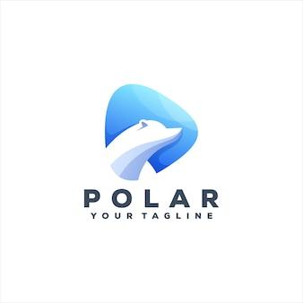 Eisbär-logo-design mit farbverlauf