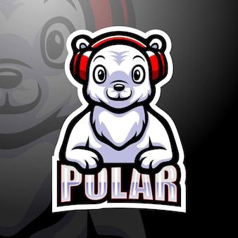 Eisbär maskottchen esport illustration