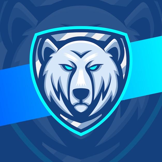 Eisbär maskottchen esport logo design