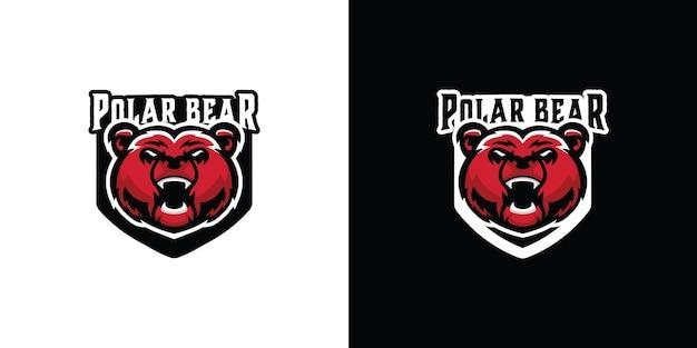 Eisbär maskottchen logo vektor vorlage premium-vektor
