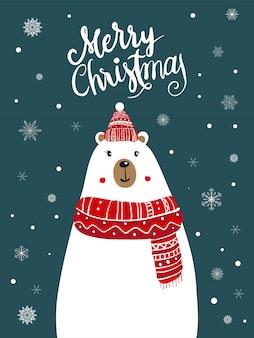 Eisbär-schal-cartoon mit weihnachtsfest