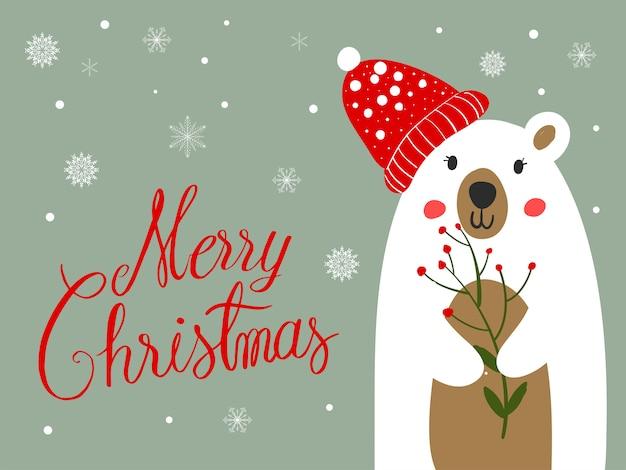 Eisbär-schal-karikatur mit weihnachtsfest und schnee-winter.