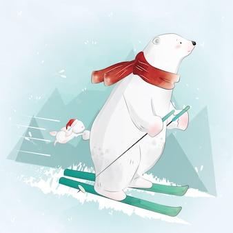 Eisbär skifahren