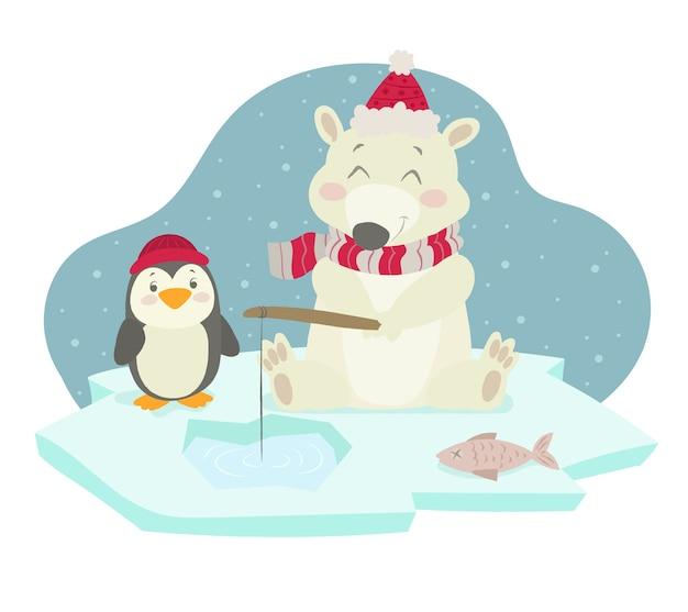 Eisbär und pinguin beim angeln