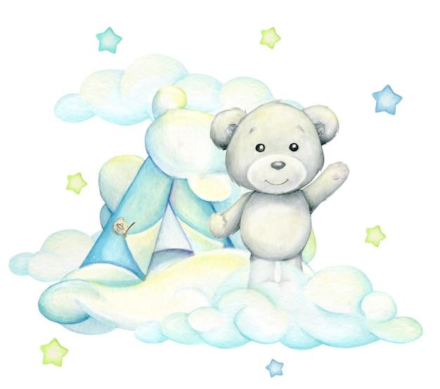 Eisbär, vor dem hintergrund der wolken stehend. aquarellkonzept auf einem isolierten hintergrund, im karikaturstil.