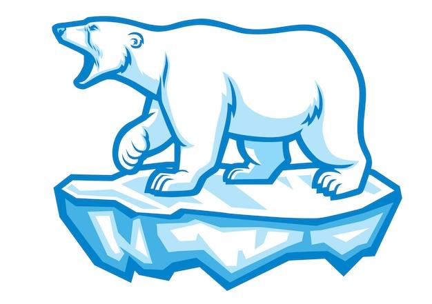 Eisbärmaskottchen stehen im eis