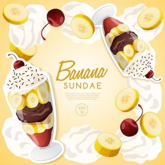Eisbecher-set, bananen-eisbecher.