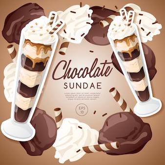 Eisbecher-set, schokoladen-eisbecher.