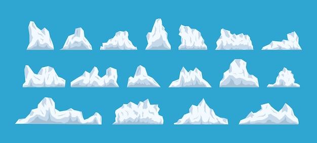 Eisberg, großes stück blaues süßwassereis im offenen wasser. sammlung von stücken und kristallen, eisberg