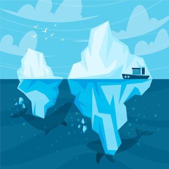 Eisberg illustriertes konzept