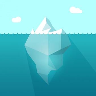 Eisberg im ozeanwasser mit flacher karikatur des unterwasserteils