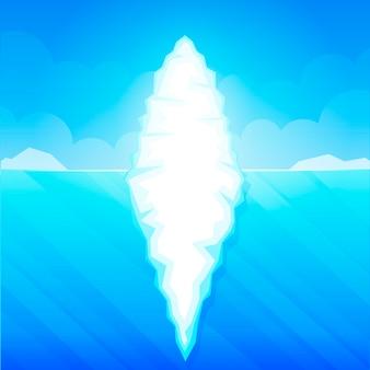 Eisberg in der ozeanwasservektorillustration