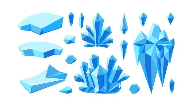 Eisberg mit kristallen für arktische landschaften set aus kristallsteinen und gletschern für das spieldesign