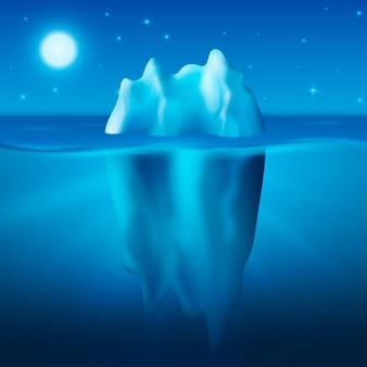 Eisberg unter der sternenklaren nacht