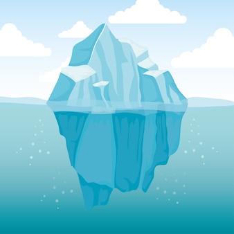 Eisbergblock arktische szenenlandschaft
