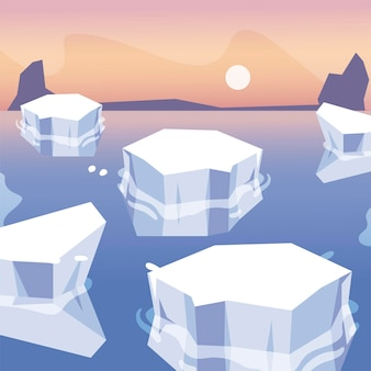 Eisberge schmolzen meer nordpol landschaftsgestaltung