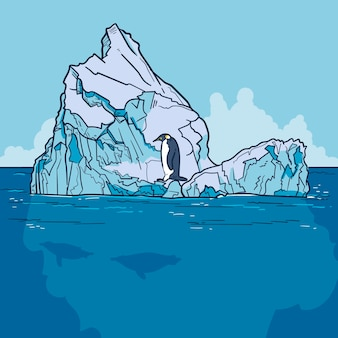 Eisbergillustration mit pinguin