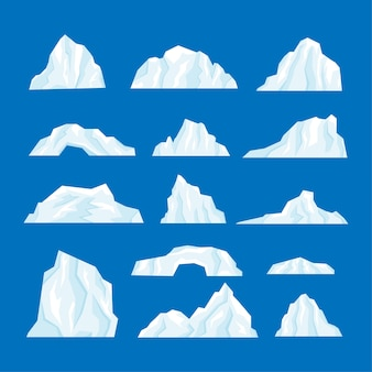 Eisbergsatzillustration lokalisiert in einem karikaturflachstil.