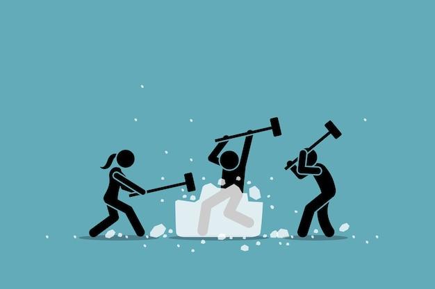 Eisbrecher- oder eisbrecheraktivität, spiel und ereignis.