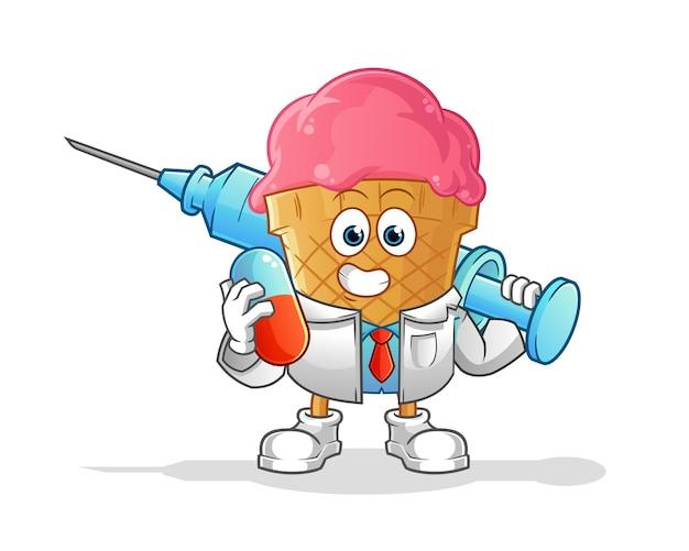 Eiscreme-arzt, der medichine und injektionsillustration hält