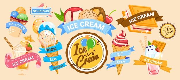 Eiscreme-banner süßes leckeres essen frische kegelschablone