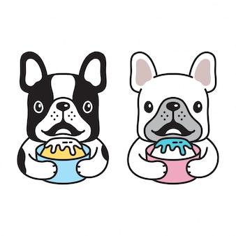 Eiscreme der französischen bulldogge des hundes