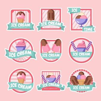 Eiscreme-etikettenkollektion im flachen design