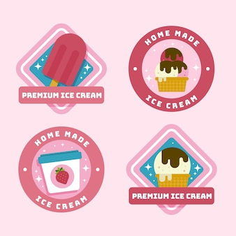 Eiscreme-etikettenpackung im flachen design
