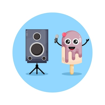 Eiscreme karaoke süßes charakterlogo