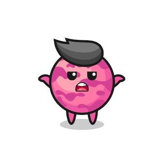 Eiscreme-kugel-maskottchen-charakter, der sagt, ich weiß es nicht, süßes stildesign für t-shirt, aufkleber, logo-element